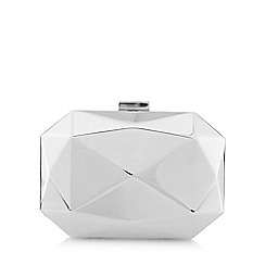 Principles by Ben de Lisi - Silver faceted metal clutch bag