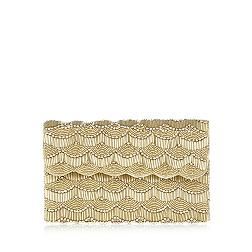 Gold scalloped beaded clutch bag