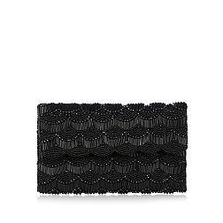 Black scalloped beaded clutch bag
