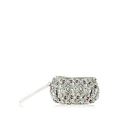 No. 1 Jenny Packham - Silver beaded floral pouch bag