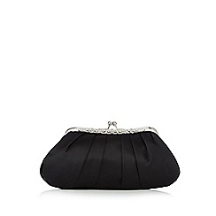 No. 1 Jenny Packham - Black satin floral embellished clutch bag