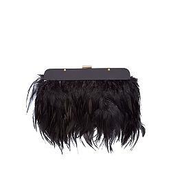 Black feather clutch bag