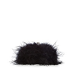 No. 1 Jenny Packham - Black feather clutch bag