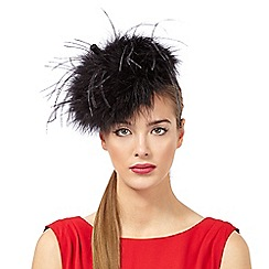 Top Hat by Stephen Jones - Black feather button fascinator