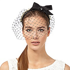 Top Hat by Stephen Jones - Black pearl bow headband with netting