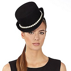 Top Hat by Stephen Jones - Black pearl trim wool top hat fascinator