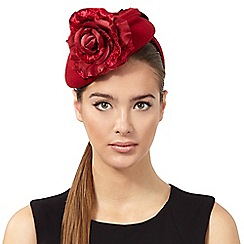 Top Hat by Stephen Jones - Red rose wool button fascinator