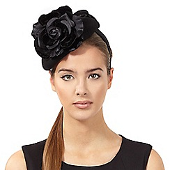 Top Hat by Stephen Jones - Black rose wool button fascinator