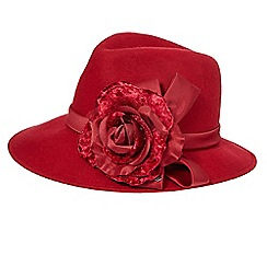 Top Hat by Stephen Jones - Red rose wool trilby hat