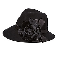 Top Hat by Stephen Jones - Black rose wool trilby hat