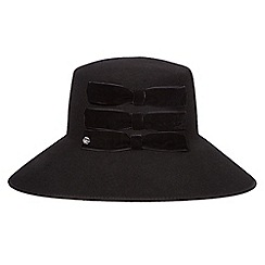 Top Hat by Stephen Jones - Black bow down brim wool hat