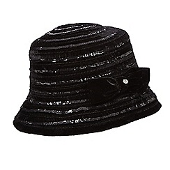 Top Hat by Stephen Jones - Black sequin velvet cloche hat