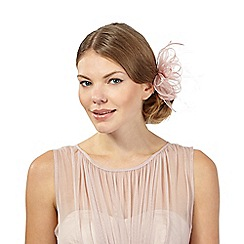 Debut - Pale pink floral feather hair clip