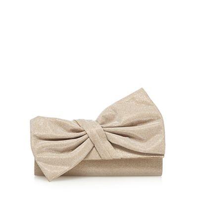 Debut Gold glittery asymmetric bow clutch bag