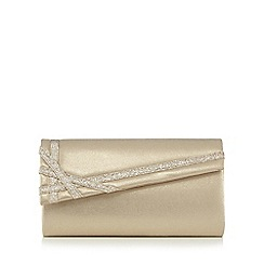 Debut - Gold glitter ribbon trim clutch bag