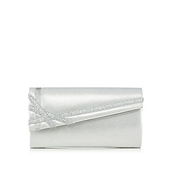 Debut - Silver glitter ribbon trim clutch bag