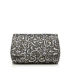Debut - Silver tapestry clutch bag