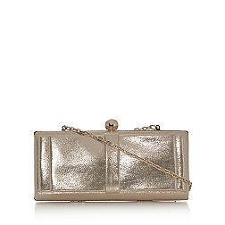 Gold bow front clutch bag