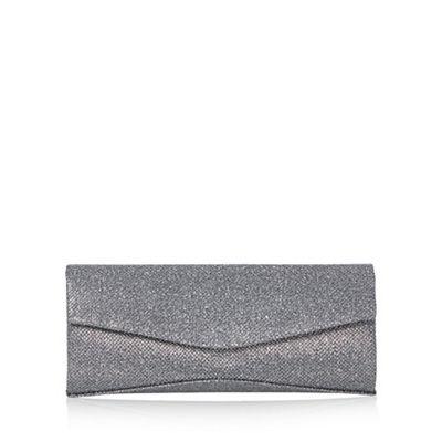 Debut Dark grey textured glitter clutch bag