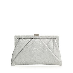 Debut - Silver glittery framed clutch bag