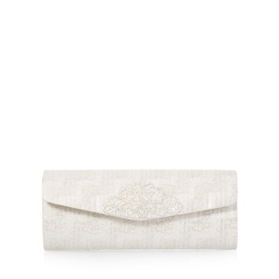 Debut Ivory embellished tapestry clutch bag