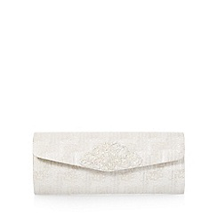 Debut - Ivory embellished tapestry clutch bag