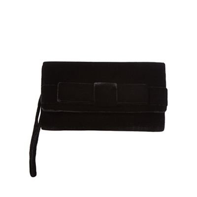 Debut Black velvet bow clutch bag
