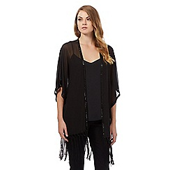 Debut - Black sequin trimmed fringed kimono