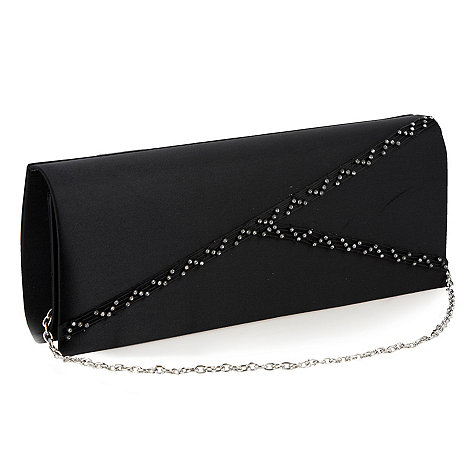 Debut - Black diagonal diamante clutch bag