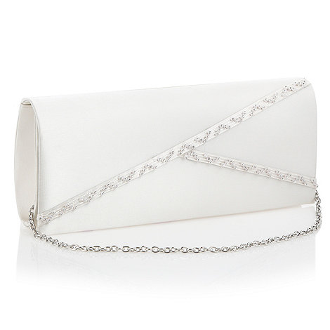 Debut - Ivory diagonal diamante clutch bag