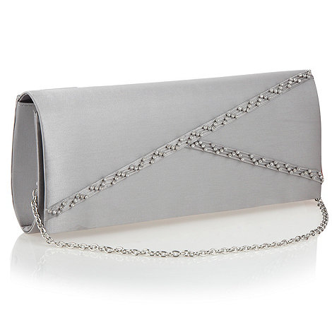 Debut - Silver diagonal diamante clutch bag