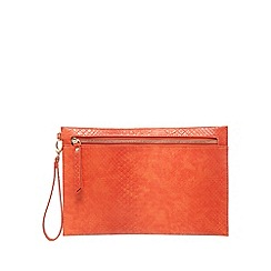 Star by Julien Macdonald - Orange textured reptile-effect clutch bag