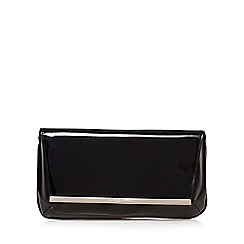 J by Jasper Conran - Black patent metal bar clutch bag