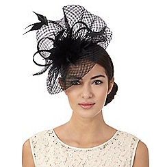 J by Jasper Conran - Black windowpane swoop fascinator
