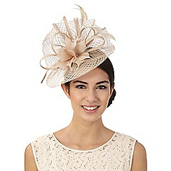 J by Jasper Conran - Beige windowpane swoop fascinator