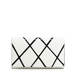J by Jasper Conran - Ivory cross pattern clutch bag