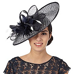 Principles by Ben de Lisi - Navy geometric overlay saucer fascinator