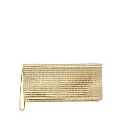 Principles by Ben de Lisi - Metallic gold woven clutch bag