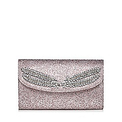 No. 1 Jenny Packham - Pink textured metallic jewel embellished clutch bag
