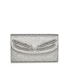 No. 1 Jenny Packham - White textured metallic jewel embellished clutch bag
