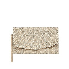 No. 1 Jenny Packham - Gold beaded scalloped clutch bag