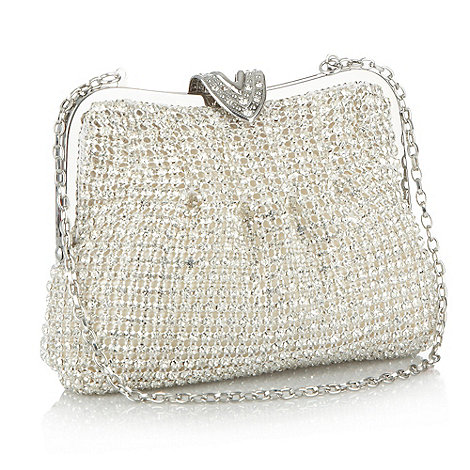 No. 1 Jenny Packham - Designer silver meshed crystal clutch bag
