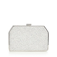 No. 1 Jenny Packham - Silver metallic textured trapezium clutch bag