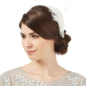 No. 1 Jenny Packham Ivory small feather clip fascinator