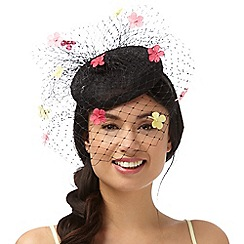 Floozie by Frost French - Black netted veil fascinator