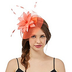 Floozie by Frost French - Coral feather band fascinator