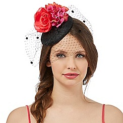 Floozie by Frost French - Black flower spot veil fascinator