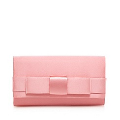 Debut - Pink satin bow applique clutch bag