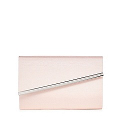 Debut - Pink textured asymmetric metal tab clutch bag