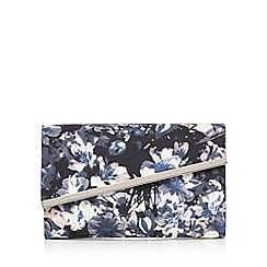 Debut - Black floral asymmetric metal tab clutch bag